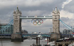 Tower Bridge olympic Rings, London. LONDON - July 7 2012: Tower Bridge with olympic Rings. London is hosting the Olympic games from 27th July to 12th of August Stock Images