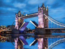 Tower Bridge with open gate in the evening, London, England, UK. Famous Tower Bridge with open gate in the evening, London, England, UK royalty free stock photo