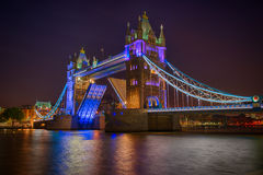 Tower Bridge Opening at night Royalty Free Stock Images