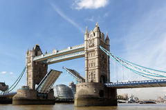 Tower Bridge opening, River Thames London, City Hall building in background Stock Photos