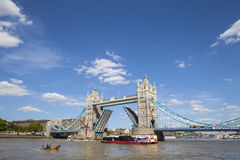 Tower Bridge Opening Up Over the River Thames in London Royalty Free Stock Photo