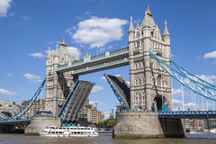Tower Bridge Opening Up Over the River Thames Royalty Free Stock Photography