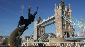 Tower Bridge Opening - 4X Normal Speed stock footage
