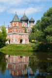 Tower Bridge over pond shore in Izmailovo Park in Moscow Royalty Free Stock Images