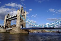 Tower Bridge over River Thames in London, England, Europe. The British landmark, Tower Bridge over River Thames in London, England, Europe Royalty Free Stock Photography