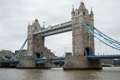 Tower Bridge over River Thames in London, England. View of Tower Bridge over the river Thames in city of London, England. One of the most famous bridges in the stock photography