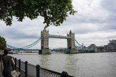 Tower Bridge over River Thames in London, England. View of Tower Bridge over the river Thames in city of London, England. One of the most famous bridges in the royalty free stock photography