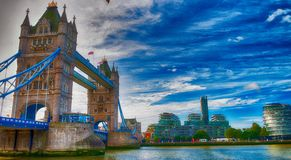 The Tower Bridge on a overcast day, London.  Royalty Free Stock Image