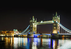 Tower bridge panoramic overview in London, Great Britain Royalty Free Stock Photos