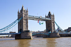 Tower Bridge and the Paralympic Rings Stock Photography