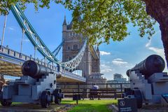 Tower Bridge Park View with Old Cannons royalty free stock photos