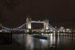 Tower Bridge Passing Boat Night Royalty Free Stock Photography