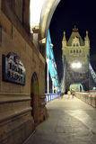 Tower Bridge perspective at night, London, England Stock Photos