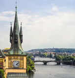 Tower and bridge in prague Stock Photography