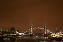 Tower Bridge in a rainy night - London at night Royalty Free Stock Photo