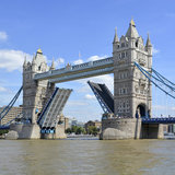Tower Bridge raised. With road closed for River Thames boat building Stock Photos