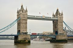 Tower Bridge with red doubledecker bus. In London Stock Image