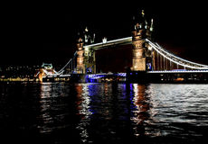Tower Bridge reflected in The River Thames at night Royalty Free Stock Images