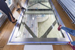 Tower Bridge on the River Thames.Glass floor, ceiling mirror, tourists,  London, United Kingdom Royalty Free Stock Image