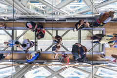 Tower Bridge on the River Thames.Glass floor, ceiling mirror, tourists,  London, United Kingdom Royalty Free Stock Photography