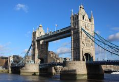 Tower Bridge and the River Thames, London in brilliant sunshine royalty free stock image