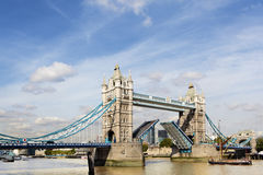 Tower Bridge, River Thames, London, UK, open, city landscape, copy space Royalty Free Stock Photos