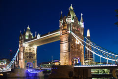 Tower bridge on the river Thames in night lights, London Royalty Free Stock Photos