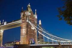 Tower bridge on the river Thames in night lights, London Stock Photography