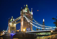 Tower bridge on the river Thames in night lights, London Royalty Free Stock Images