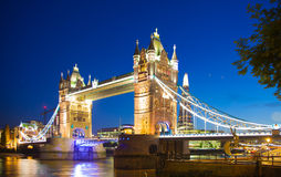 Tower bridge on the river Thames in night lights, London Royalty Free Stock Photo