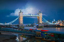 Tower bridge on the river Thames. Night view Stock Images