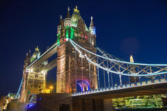 Tower bridge on the river Thames. Night view Stock Photos