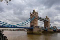 The Tower Bridge  and river Thames. The Tower Bridge over River Thames looking from the Tower of London Stock Photography
