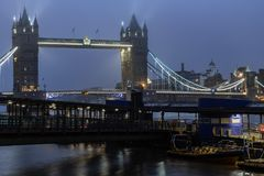 Tower Bridge and the river Thames panoramic view. London at night royalty free stock image