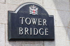 Tower Bridge on the River Thames, plaque with name of bridge, London, United Kingdom Stock Images