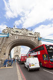 Tower Bridge on the River Thames and red double-decker bus, London, United Kingdom Stock Photography