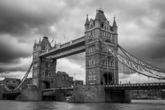 Tower Bridge and River Thames view in London, photo in black and stock image