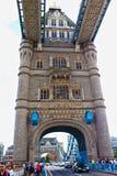 Tower Bridge Road view London United Kingdom. Tower Bridge Road on the most famous bridge in the world,London Great Britain.Tower Bridge is a combined bascule Stock Images
