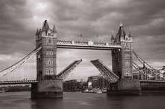 Tower Bridge. When it´s opened Royalty Free Stock Images