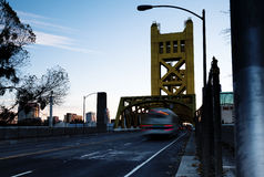 Tower Bridge Sacramento California Early Morning Street Level Royalty Free Stock Image