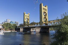 Tower Bridge Sacramento, California. SACRAMENTO, CALIFORNIA - July 4, 2014:  Holiday boat users gather near the historic Tower Bridge in Sacramento, California Royalty Free Stock Image