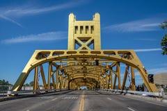 Tower bridge in Sacramento, California stock images
