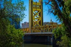 Tower Bridge Sacramento California. Vertical lift bridge across the Sacramento River in Capitol of California stock image