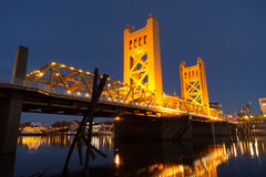 Tower Bridge Sacramento River Capital City California Downtown S Royalty Free Stock Images