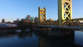 Tower Bridge Sacramento River Capital City California Downtown Skyline. Night falls on the spectacular Tower Bridge over Sacramento`s beautiful riverfront stock video footage