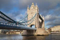 Tower Bridge from Shad Thames. Tower Bridge from the Shad Thames, London, United Kingdom stock photography