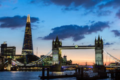 Tower Bridge, the Shard, city hall and business district in the Stock Image