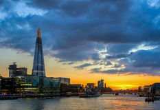 Tower Bridge, the Shard, city hall and business district in the Royalty Free Stock Image