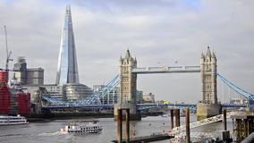 Tower Bridge and The Shard, London stock footage