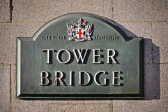 Tower Bridge sign Stock Photos